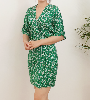 wrap flower print dress green